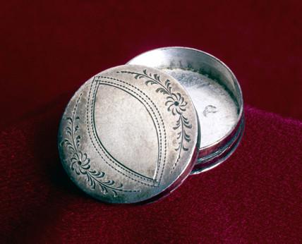Silver cachou box, 1797.
