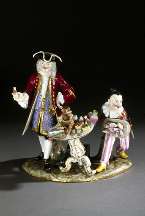 Charlatan with a monkey and a clown, German, c 1724-1900.