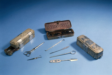 Surgical instruments and cases, English, 1650-1700.