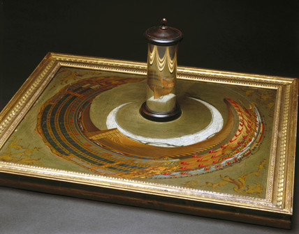 An anamorphic painting of a ship, c 1744-1774.