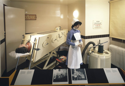 Iron lung display, 1950s.