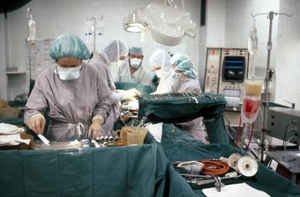 Open heart surgery, St George's Hospital, London, c 1979.