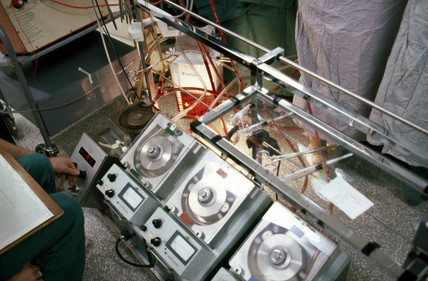Monitoring equipment, St George's Hospital, London, c 1979.
