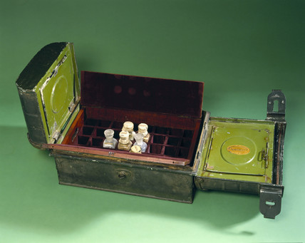 Medicine chest belonging to Henry Morton Stanley, late 19th century.
