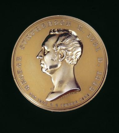 Commemorative medal depicting George Stephenson.