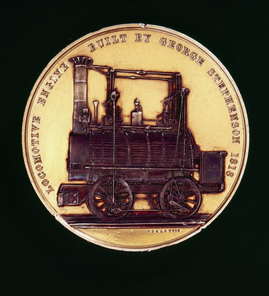 Commemorative medal depicting a locomotive built by George Stephenson.