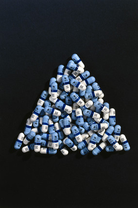 Triangle of AZT capsules, 1980s.