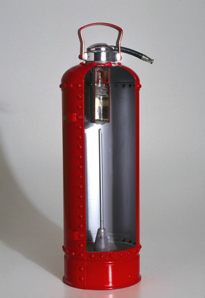 Soda acid fire extinguisher, c 1950s.