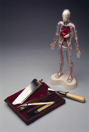 Post mortem surgical instrument set, 1783-1844, and 'Visible Man', 1993.