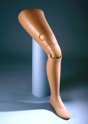 Artificial leg, flesh coloured, 1979-81.