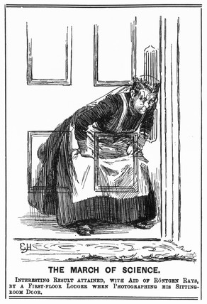'X-ray' of a maid spying at a keyhole, 27 March 1896.