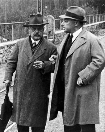 Wolfgang Pauli and Arnold Sommerfeld, physicists, c 1940.