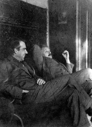 Albert Einstein and Niels Bohr smoking, c 1920.