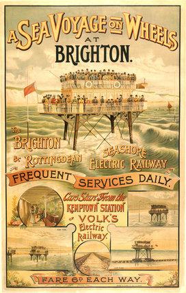 Volk's Brighton & Rottingdean Seashore Electric Railway, poster.