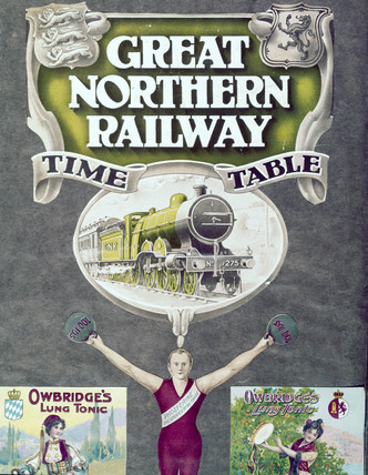 Front cover of the 'Great Northern Railway Timetable', early 20th century.