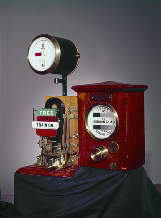 Sykes Lock-and-Block train signalling instrument, c 1897.