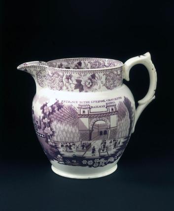 Glazed jug with claret mauve transfer, 1830.