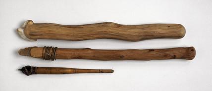 Set of three trepanning drills, Neolithic.
