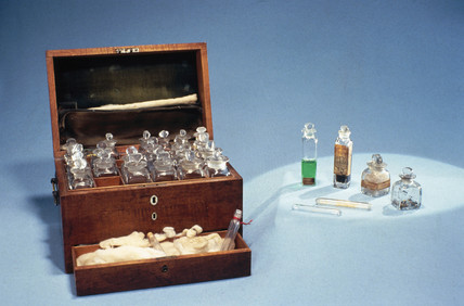 Michael Faraday's chemical chest, 19th century.