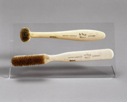 Toothbrushes with ivoride handles, c 1870-1920.