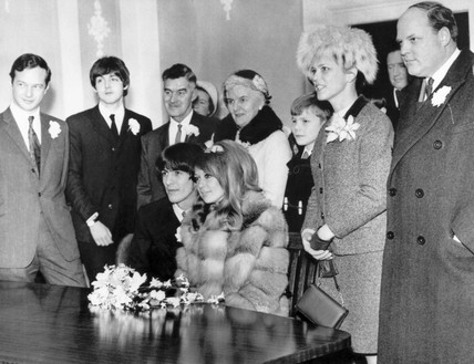 Beatle George Harrison marrying model Patti Boyd, 21 January 1966.