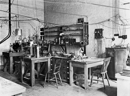 Sir Ernest Rutherford's laboratory, early 20th century.