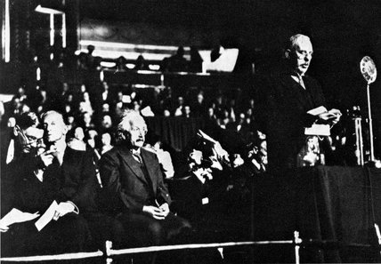 Albert Einstein and Ernest Rutherford, the Royal Albert Hall, 1933.