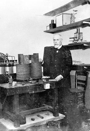 Antoine Becquerel in his laboratory, c 1890s.