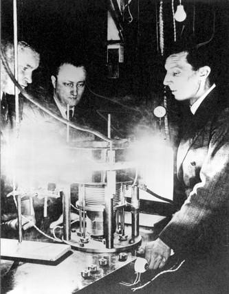 Frederic Joliot, Hans Halban and Lew Kowarski, c 1939.