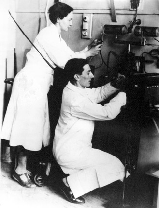 Irene Joliot-Curie and Frederic Joliot, French physicists, c 1935.