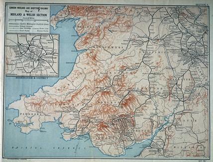 Map of the London Midland & Scottish Railway, c 1930.