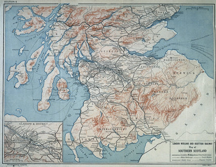 Map of  London Midland & Scottish Railway, c 1930.
