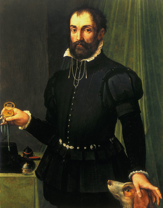 Portrait of a man holding a watch, c 1558.