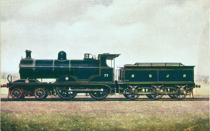Somerset and Dorset Joint Railway 4-4-0 steam locomotive no 77, 1908.