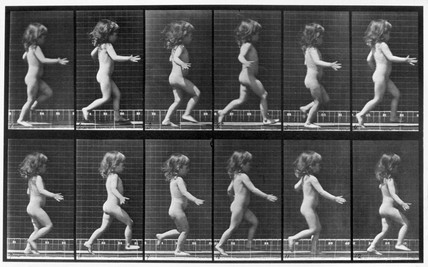 Nude child running, c 1872-1885.