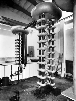 Philips Cockcroft Walton accelerator, c 1940.