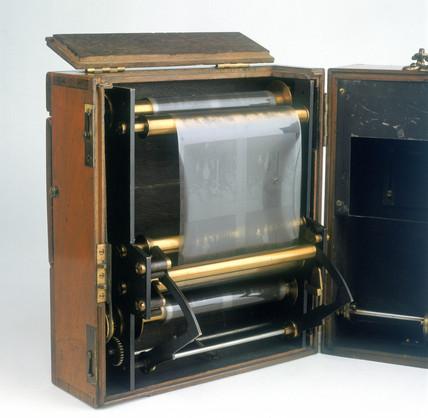 Stereo cine camera, c 1893.