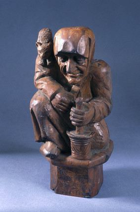 Carved wooden figure of a witch, French, early 20th century.