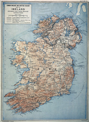 LM&SR railway map of Ireland and the Irish Sea, c 1930.