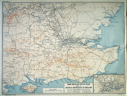 Map of  the London Midland and Scottish Railway, c 1930.