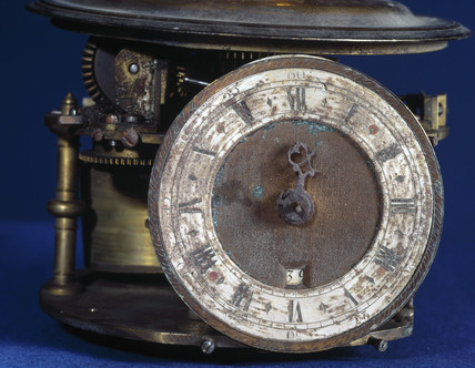 Detail of large orrery with eight-day clock by Charles Butcher, 1733.