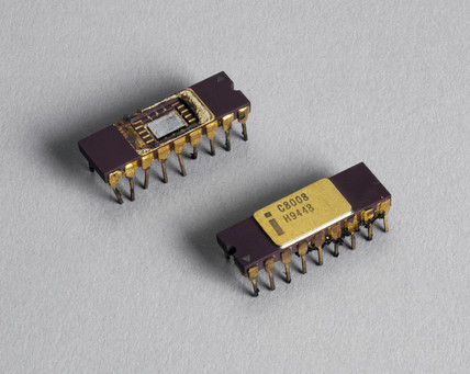 Two Intel 8080 microprocesor chips, 1970s.