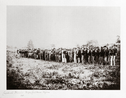 Group of Confederate prisoners, Fairfax Court House, Virginia, USA, June 1862.
