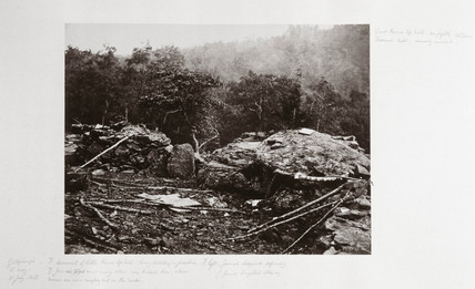 Breastworks on Little Round Top Hill, Gettysburg, Pennsylvania, July 1863.
