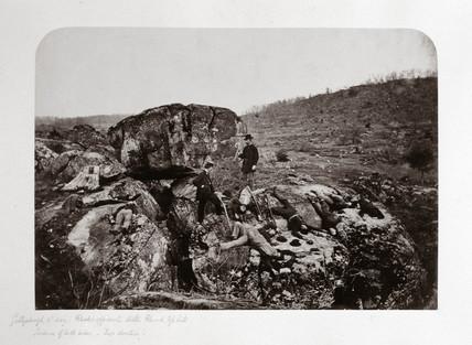 Battle of Gettysburg, third day, rocks opposite Little Round top Hill, July 1863.