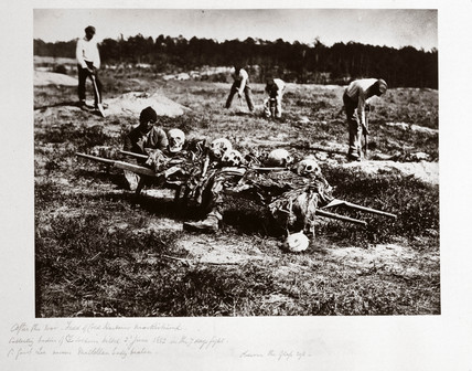 Remains of Union soldiers killed at Cold Harbour, Virginia, in June 1862, (c 1864).