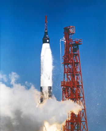 Launch of the Atlas rocket that carried astronaut John Glenn into orbit, 1962.