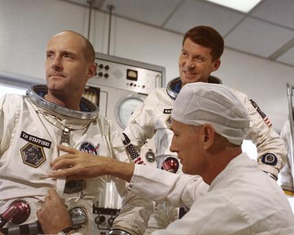Gemini 6 astronauts Thomas Stafford and Walter Schirra, 1965.