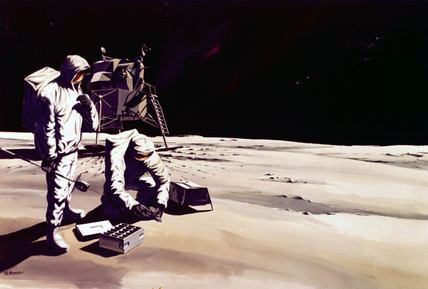 Artist's impresion of astronauts working on the Moon, 1968.