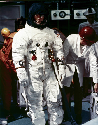 Apollo astronaut in full spacesuit, 1969.
